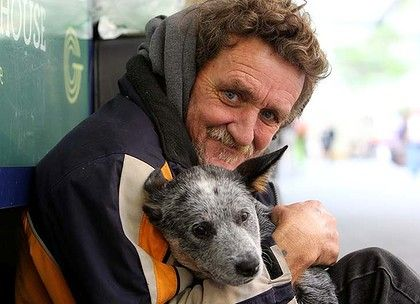 dog homeless man